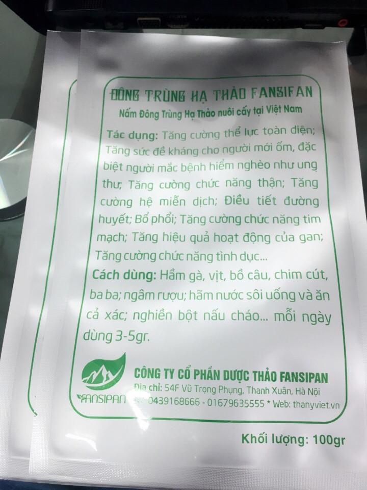 Đông trùng hạ thảo đóng túi 1 lạng của Công ty CP Dược thảo Fansipan